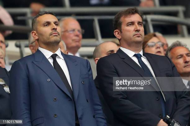Ferran Soriano, CEO of Manchester City and Khaldoon Al Mubarak, Chairman of Manchester City look on prior to the FA Cup Final match between...