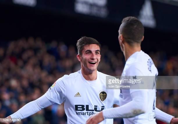 Ferran Torres midfielder of Valencia CF celebrates the goal of Rodrigo Moreno with him during the La Liga match between Valencia CF and Villarreal CF...