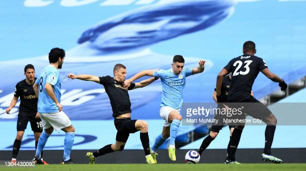 Ferran Torres of Manchester City attacks during the Premier League match between Manchester City and West Ham United at Etihad Stadium on February...