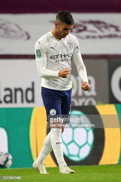 Ferran Torres of Manchester City celebrates after scoring his sides third goal during the Carabao Cup fourth round match between Burnley and...