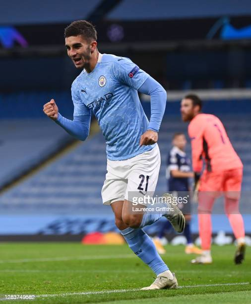 Ferran Torres of Manchester City celebrates after scoring his sides first goal during the UEFA Champions League Group C stage match between...