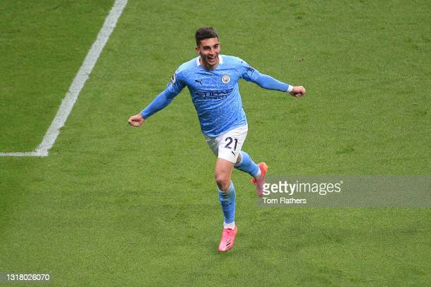Ferran Torres of Manchester City celebrates after scoring his sides fourth goal and his hat trick during during the Premier League match between...