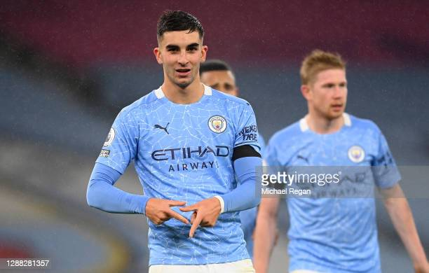 Ferran Torres of Manchester City celebrates after scoring his team's fourth goal during the Premier League match between Manchester City and Burnley...