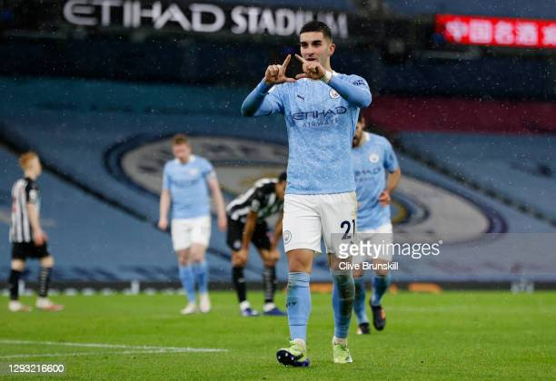 Ferran Torres of Manchester City celebrates after scoring his team's second goal during the Premier League match between Manchester City and...
