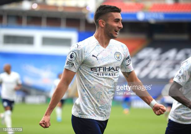 Ferran Torres of Manchester City celebrates after scoring his team's second goal during the Premier League match between Crystal Palace and...