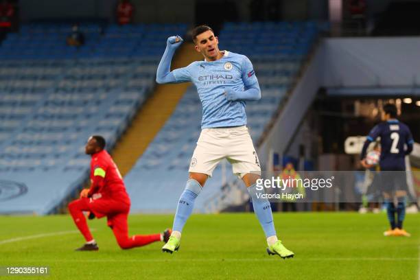 Ferran Torres of Manchester City celebrates after scoring their sides first goal during the UEFA Champions League Group C stage match between...