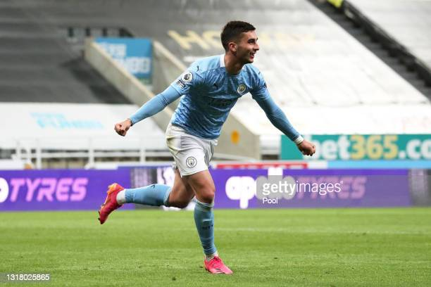 Ferran Torres of Manchester City celebrates after scoring their sides fourth goal and their hat trick during the Premier League match between...