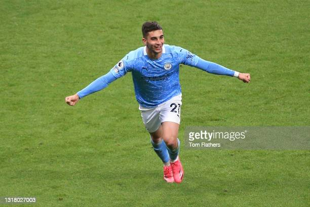 Ferran Torres of Manchester City celebrates after scoring their side's fourth goal and his hat trick during the Premier League match between...