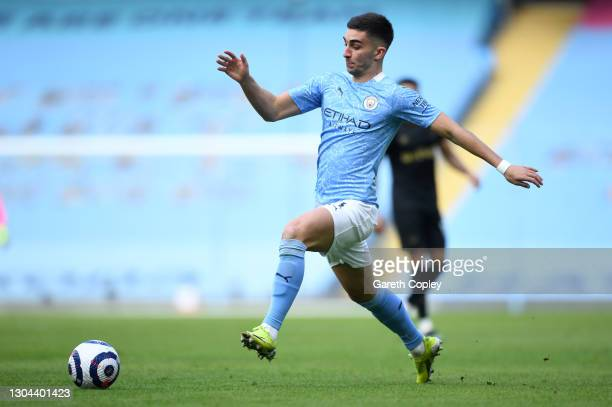 Ferran Torres of Manchester City during the Premier League match between Manchester City and West Ham United at Etihad Stadium on February 27, 2021...