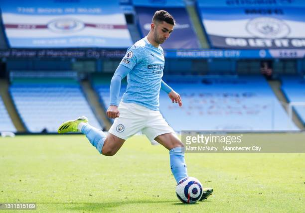 Ferran Torres of Manchester City in action during the Premier League match between Manchester City and Leeds United at Etihad Stadium on April 10,...