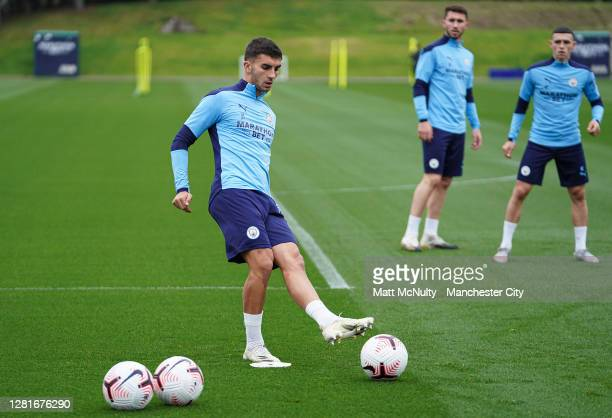Ferran Torres of Manchester City in action during the training session at Manchester City Football Academy on October 22, 2020 in Manchester, England.