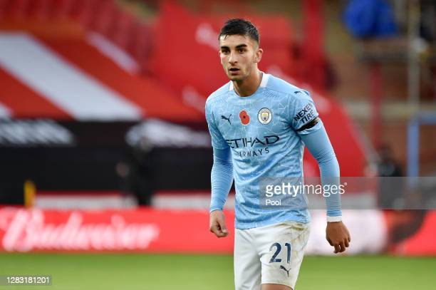 Ferran Torres of Manchester City looks on during the Premier League match between Sheffield United and Manchester City at Bramall Lane on October 31,...