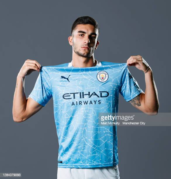 Ferran Torres of Manchester City poses for a portrait at Manchester City Football Academy on November 04, 2020 in Manchester, England.