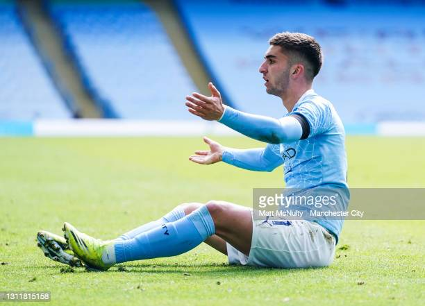 Ferran Torres of Manchester City reacts during the Premier League match between Manchester City and Leeds United at Etihad Stadium on April 10, 2021...