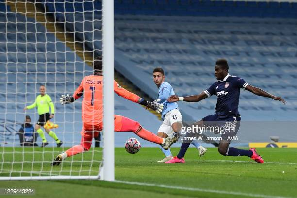 Ferran Torres of Manchester City scores a goal to make it 1-0 during the UEFA Champions League Group C stage match between Manchester City and...