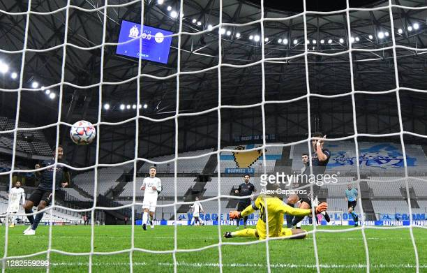 Ferran Torres of Manchester City scores his sides first goal during the UEFA Champions League Group C stage match between Olympique de Marseille and...
