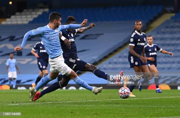 Ferran Torres of Manchester City scores his sides first goal during the UEFA Champions League Group C stage match between Manchester City and...