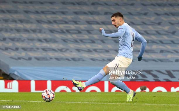 Ferran Torres of Manchester City scores their sides first goal during the UEFA Champions League Group C stage match between Manchester City and...