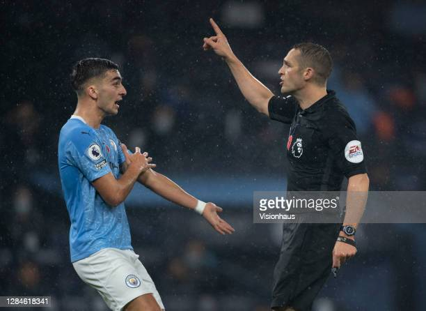 Ferran Torres of Manchester City successfully appeals to referee Craig Pawson for a penalty to be given for handball during the Premier League match...