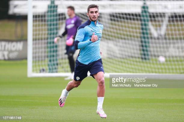 Ferran Torres of Manchester City warms up during a training session at Manchester City Football Academy on September 11 2020 in Manchester England