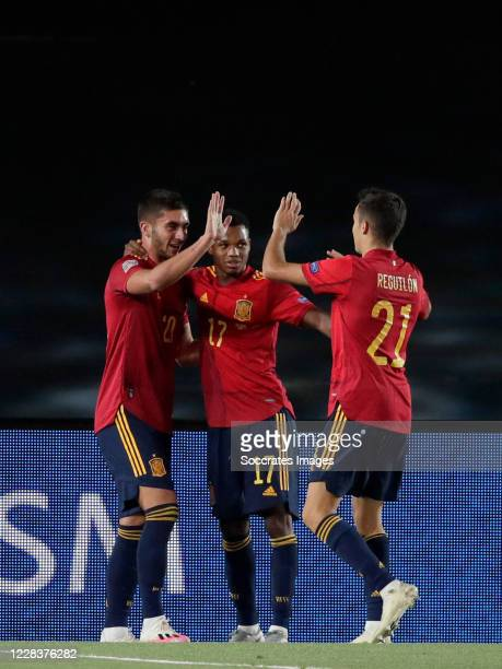 Ferran Torres of Spain celebrates 40 with Ansu Fati of Spain Sergio Reguilon of Spain during the UEFA Nations league match between Spain v Ukraine at...