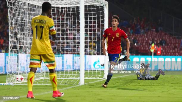 Ferran Torres of Spain celebrates a scored goal during the FIFA U17 World Cup India 2017 Semi Final match between Mali and Spain at Dr DY Patil...