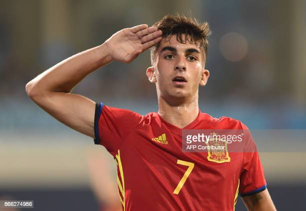 Ferran Torres of Spain celebrates after scoring a goal during the second semi final football match between Mali and Spain in the FIFA U17 World Cup...