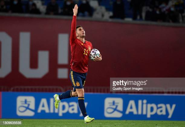 Ferran Torres of Spain celebrates after scoring his team's first goal during the FIFA World Cup 2022 Qatar qualifying match between Georgia and Spain...