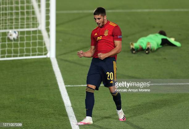 Ferran Torres of Spain celebrates after scoring his team's fourth goal during the UEFA Nations League group stage match between Spain and Ukraine at...