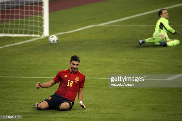 Ferran Torres of Spain celebrates after scoring team's fifth and his hat-trick goal during the UEFA Nations League Group stage League A Group 4...