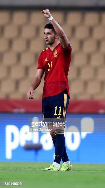 Ferran Torres of Spain celebrates after scoring their side's second goal during the FIFA World Cup 2022 Qatar qualifying match between Spain and...