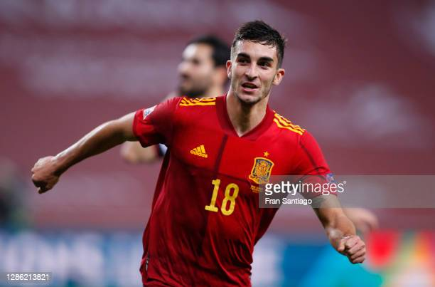 Ferran Torres of Spain celebrates his team's fifth goal during the UEFA Nations League group stage match between Spain and Germany at Estadio de La...