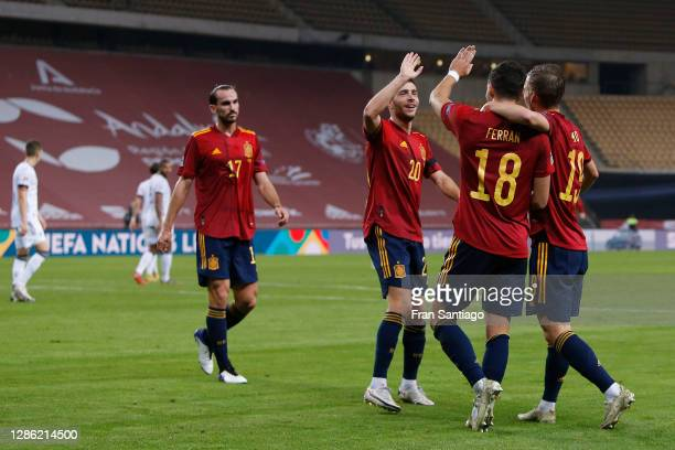 Ferran Torres of Spain celebrates his team's fifth goal with teammates during the UEFA Nations League group stage match between Spain and Germany at...