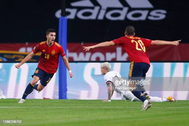Ferran Torres of Spain celebrates his team's second goal with teammate Sergi Roberto during the UEFA Nations League group stage match between Spain...