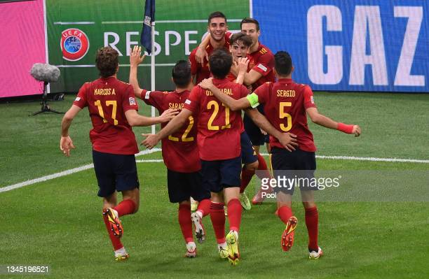Ferran Torres of Spain celebrates with team mates after scoring their side's second goal during the UEFA Nations League 2021 Semi-final match between...