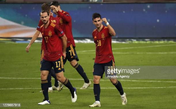 Ferran Torres of Spain celebrates with teammates after scoring team's second goal during the UEFA Nations League Group stage League A Group 4 soccer...
