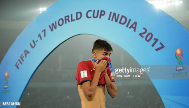 Ferran Torres of Spain looks dejected after the FIFA U17 World Cup India 2017 Final match between England and Spain at Vivekananda Yuba Bharati...