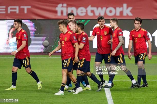 Ferran Torres of Spain, Marcos Llorente of Spain, Dani Olmo of Spain, Sergio Busquets of Spain, Koke of Spain, Gerard Moreno of Spain, Inigo Martinez...