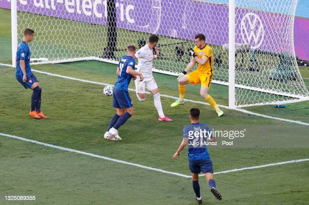Ferran Torres of Spain scores their side's fourth goal past Martin Dubravka of Slovakia during the UEFA Euro 2020 Championship Group E match between...