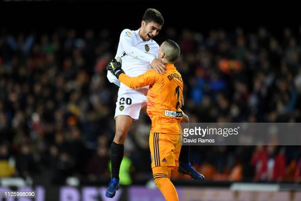 Ferran Torres of Valencia celebrates with Jaume Domenech of Valencia after Rodrigo Moreno of Valencia scores his side's third goal during the Copa...