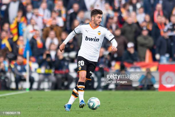Ferran Torres of Valencia CF controls the ball during the Liga match between Getafe CF and Valencia CF at Coliseum Alfonso Perez on February 08 2020...