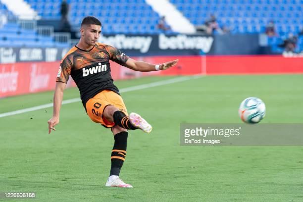 Ferran Torres of Valencia CF controls the ball during the Liga match between CD Leganes and Valencia CF at Estadio Municipal de Butarque on July 12...