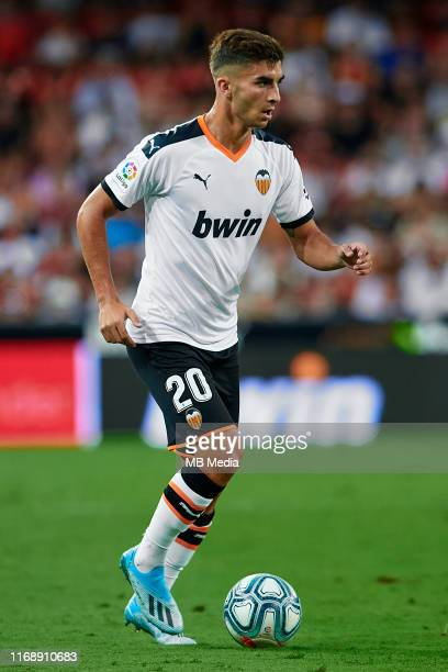 Ferran Torres of Valencia CF in action during the Liga match between Valencia CF and Real Sociedad at Estadio Mestalla on August 17 2019 in Valencia...