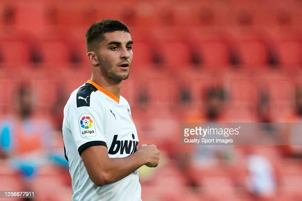 Ferran Torres of Valencia CF looks on during the Liga match between Valencia CF and RCD Espanyol at Estadio Mestalla on July 16, 2020 in Valencia,...