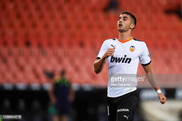 Ferran Torres of Valencia CF shows his dejection during the Liga match between Valencia CF and RCD Espanyol at Estadio Mestalla on July 16 2020 in...
