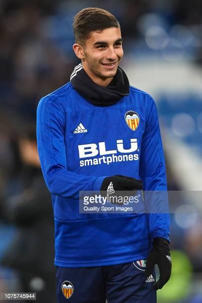 Ferran Torres of Valencia CF warms up prior to the La Liga match between Real Madrid CF and Valencia CF at Estadio Santiago Bernabeu on December 01...