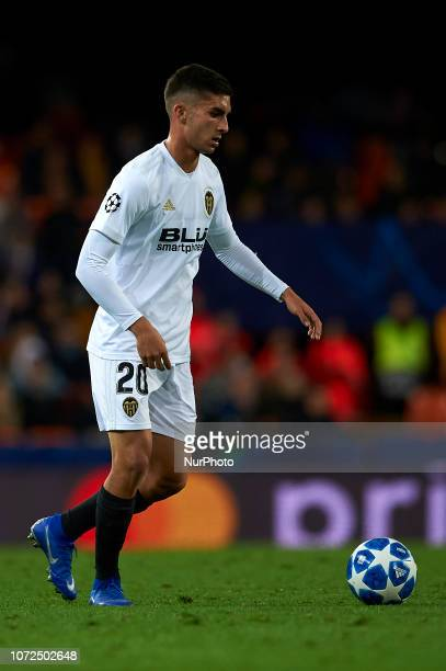 Ferran Torres of Valencia controls the ball during the match between Valencia CF and Manchester United at Mestalla Stadium in Valencia Spain on...