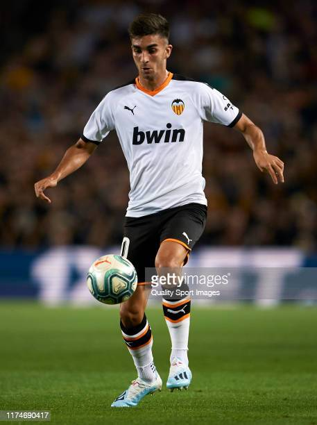 Ferran Torres of Valencia in action during the Liga match between FC Barcelona and Valencia CF at Camp Nou on September 14 2019 in Barcelona Spain