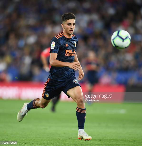 Ferran Torres of Valencia in action during the preseason friendly match between Leicester City and Valencia at The King Power Stadium on August 1...