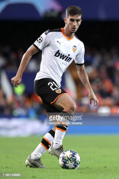 Ferran Torres of Valencia runs with the ball during the UEFA Champions League group H match between Valencia CF and Lille OSC at Estadio Mestalla on...